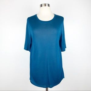 Vince Silk Blend Seamed Oversized Tee Small